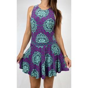 TIGERLILY Purple Green Batik Print Playsuit Size 8